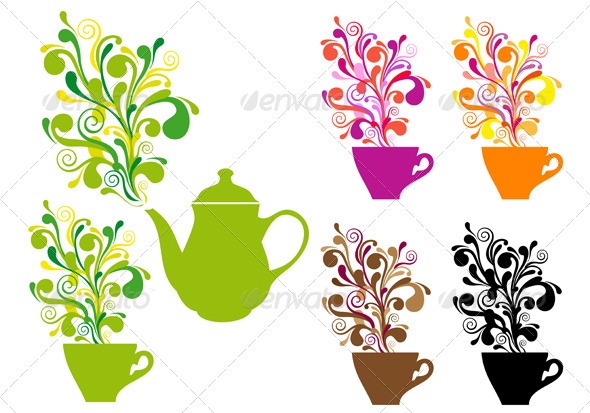 Coffee And Tea With Color Swirls - Food Objects