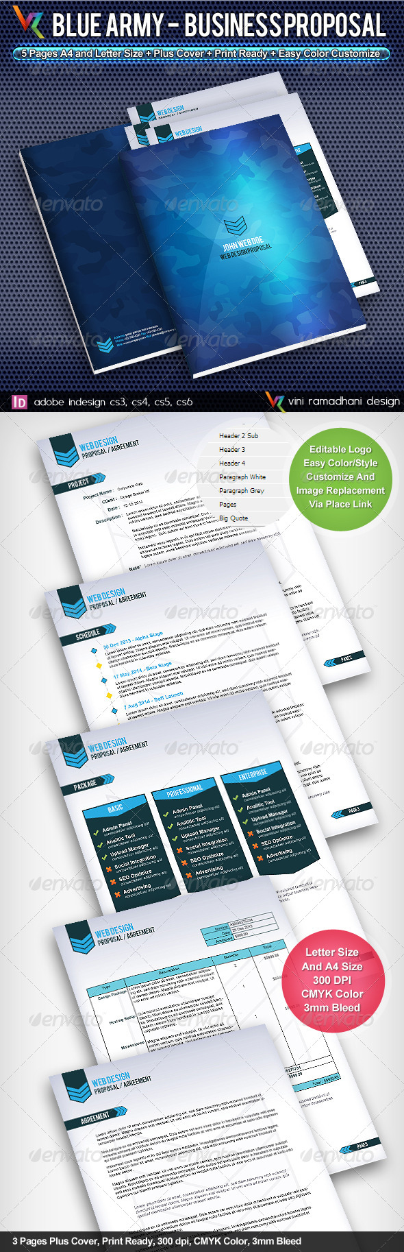 Blue Army Business Proposal - Proposals & Invoices Stationery