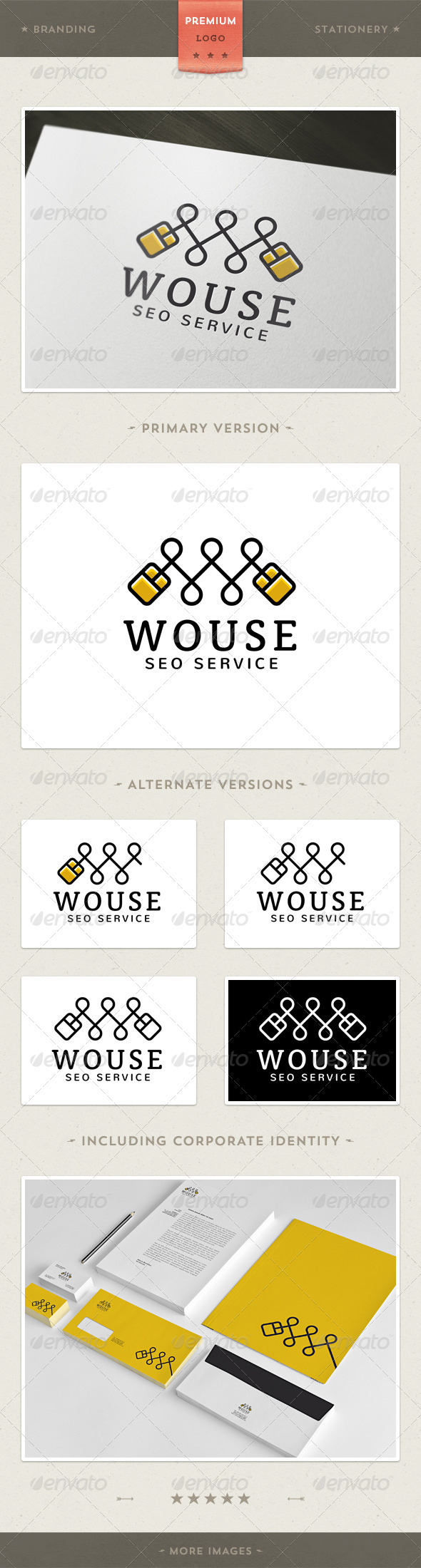 Wouse - Mouse and W Letter Logo Template - Objects Logo Templates