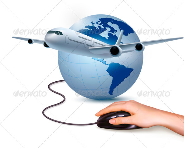Airplane and Hand with Mouse  - Travel Conceptual