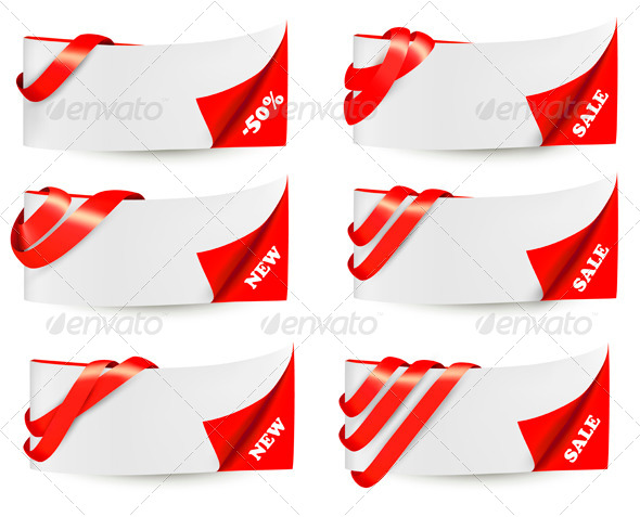 Red Sale Banners with Red Ribbons - Borders Decorative