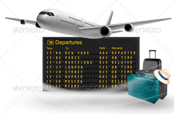 Travel Background with Mechanical Departures Board - Travel Conceptual