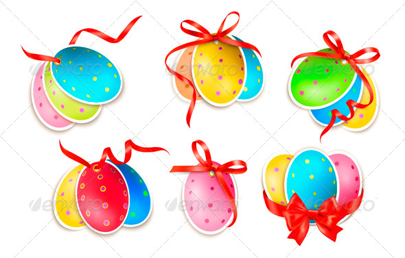 Decorative Easter Eggs with Bows - Miscellaneous Seasons/Holidays