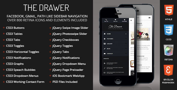 Drawer Mobile | Mobile Template - Mobile Site Templates