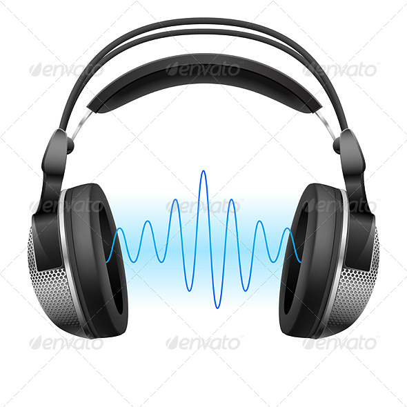 Headphones and Music Wave - Technology Conceptual