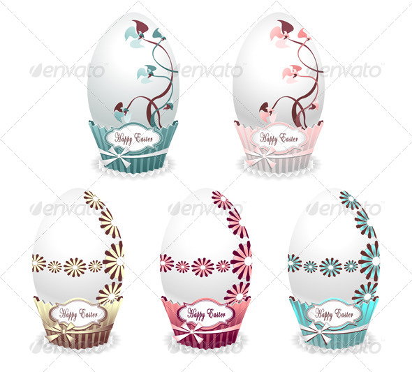 Set Style Easter Egg Colour with Drawing Flowers - Seasons/Holidays Conceptual