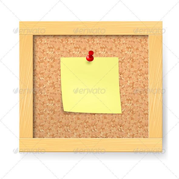 Empty Wooden Corkboard - Characters Vectors