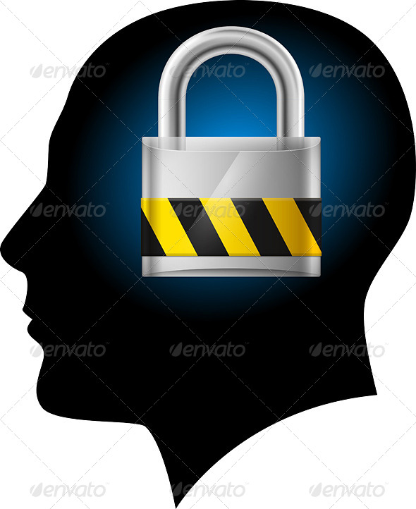 Man with Padlock in Head - Miscellaneous Vectors