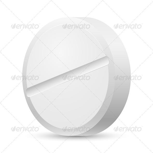 Realistic White Tablet - Miscellaneous Vectors