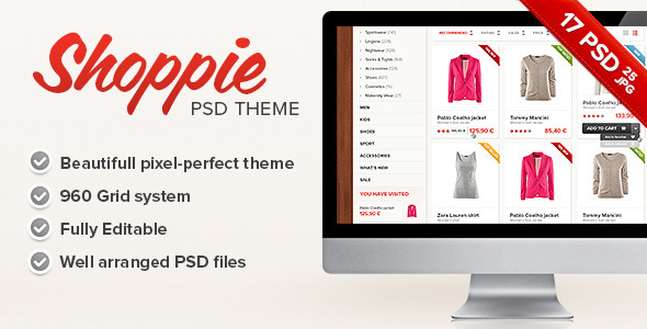 Shoppie - Modern Online Store - Retail PSD Templates
