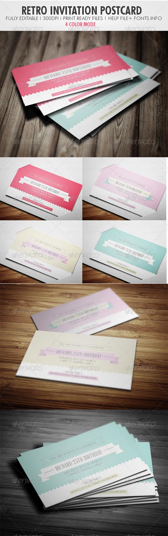 Retro Invitation Postcard - Invitations Cards & Invites
