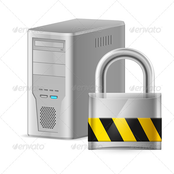 Padlock and Case of Computer - Miscellaneous Vectors