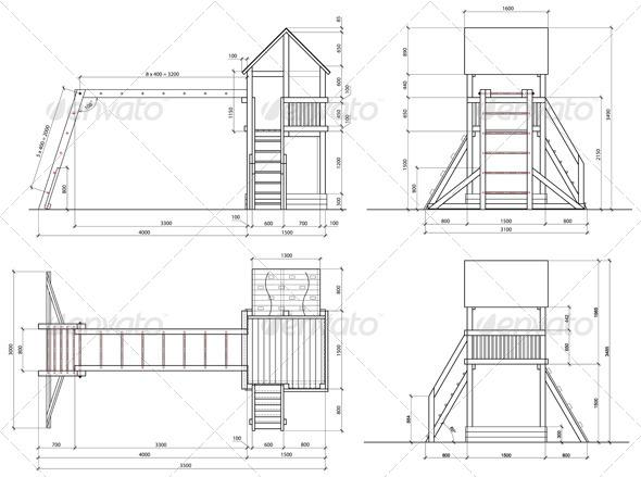 2d Model of Children's Slide - Buildings Objects