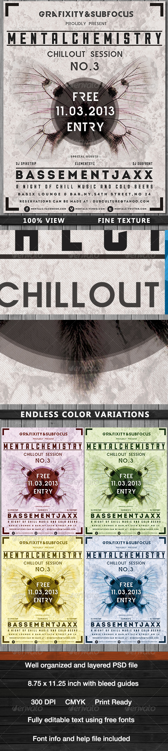 MentalChemistry-Chillout/Dub Poster - Flyers Print Templates