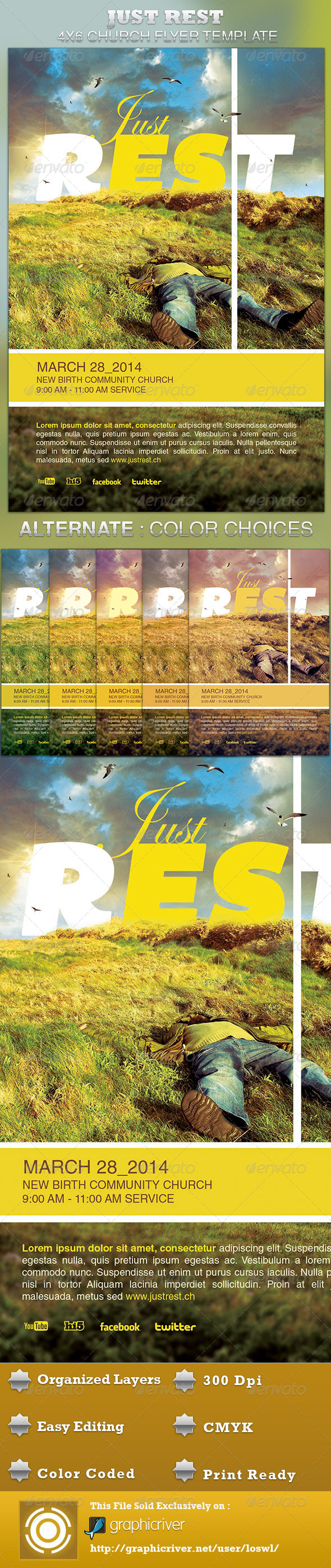 Just Rest Church Flyer Template - Church Flyers