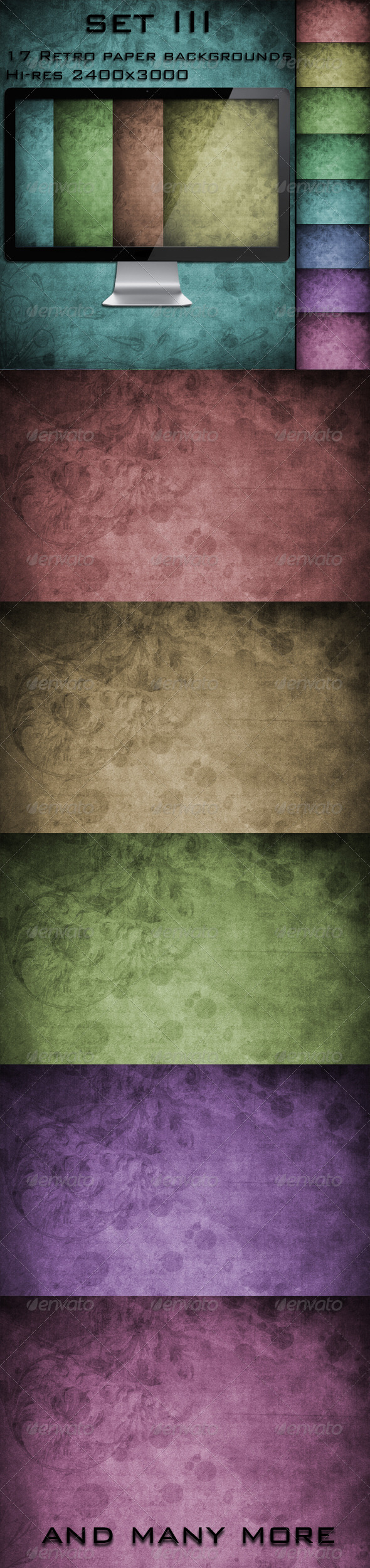 17 Retro Paper Backgrounds set III - Miscellaneous Backgrounds