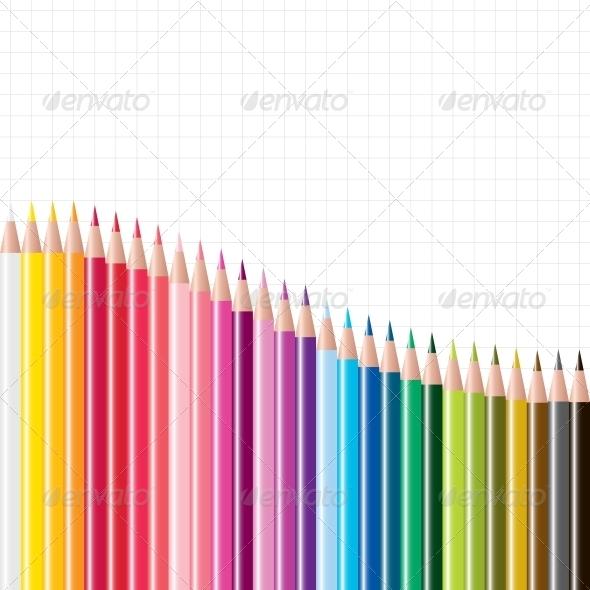 Vector Set of Coloured Pencils - Miscellaneous Vectors