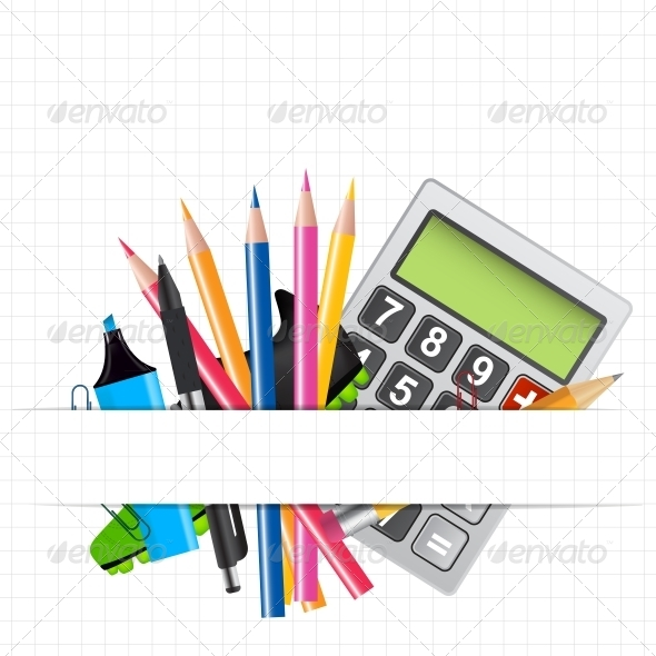 School Theme Background with Different Tools - Miscellaneous Vectors