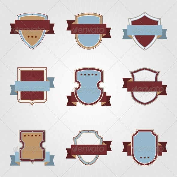 Vintage Heraldry Shields Retro Style Set - Decorative Symbols Decorative