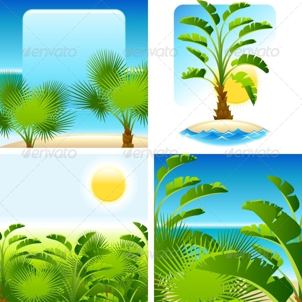 Tropical Palm with Sea on Sunny Backgrounds - Travel Conceptual