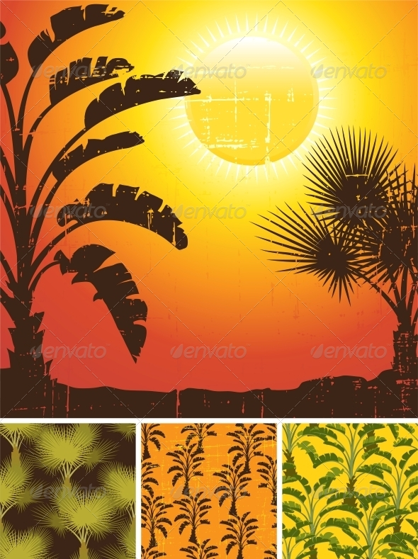 Tropical Palm on Sea Background and Patterns - Patterns Decorative