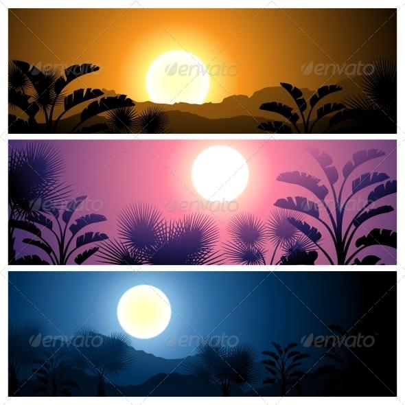 Tropical Banners Set Landscape - Landscapes Nature