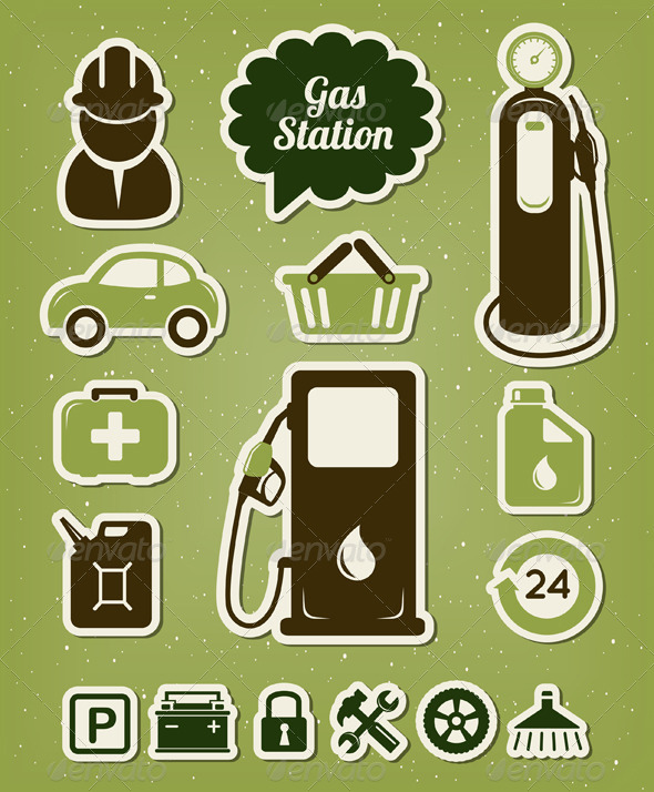 Gas Station Icons Set - Services Commercial / Shopping