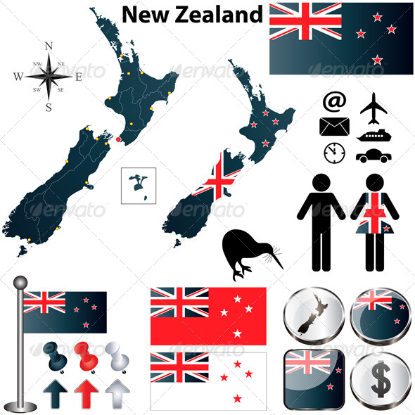 New Zealand Map - Travel Conceptual