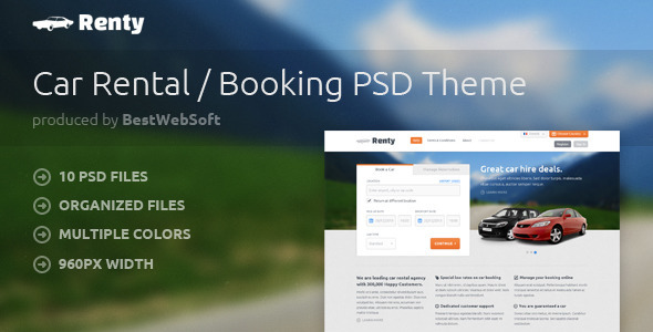 Renty – Car Rental & Booking PSD Template
