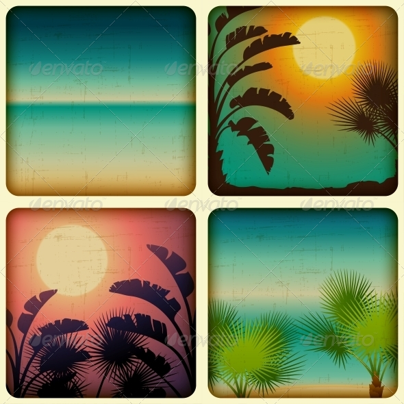 Retro Tropical Cards with Seaside and Palm Trees - Landscapes Nature