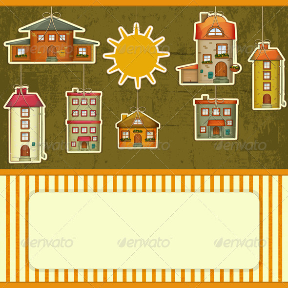 Set of Houses Retro Card - Buildings Objects