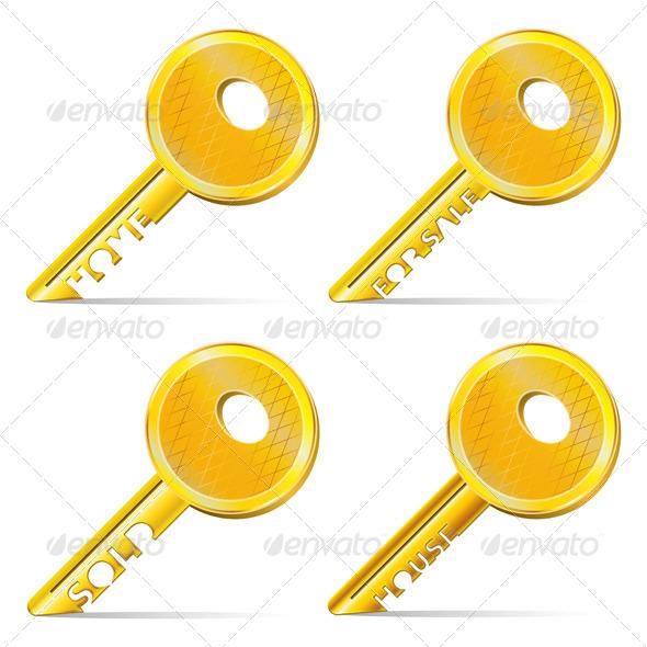 Set of Gold Keys - Conceptual Vectors