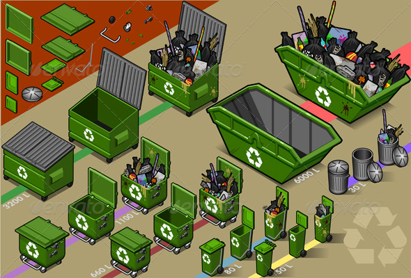 Isometric Garbage Containers - Objects Vectors