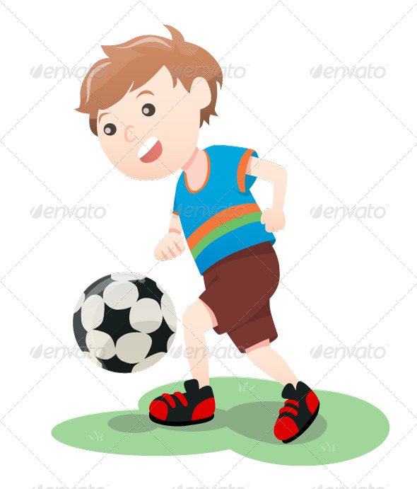 Boy Playing Soccer - People Characters