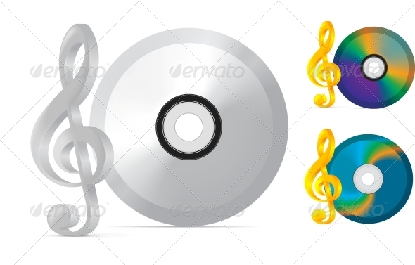 Compact Disc with Treble Clef - Media Technology