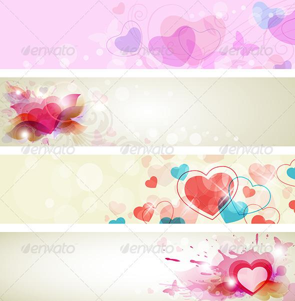 Romantic Valentine Banners - Valentines Seasons/Holidays