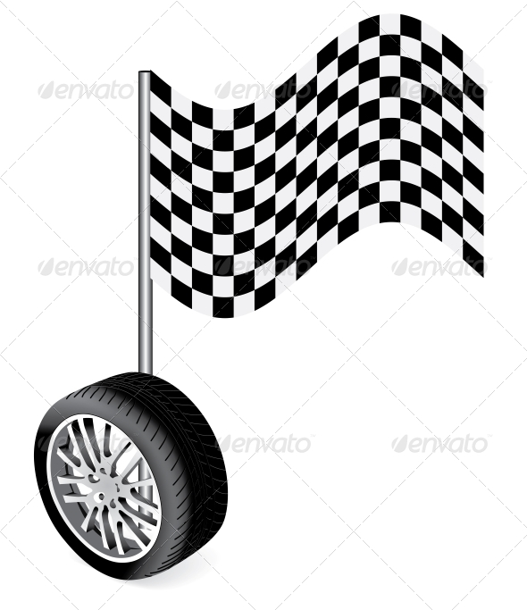 Vector Wheel With Race Flag - Sports/Activity Conceptual