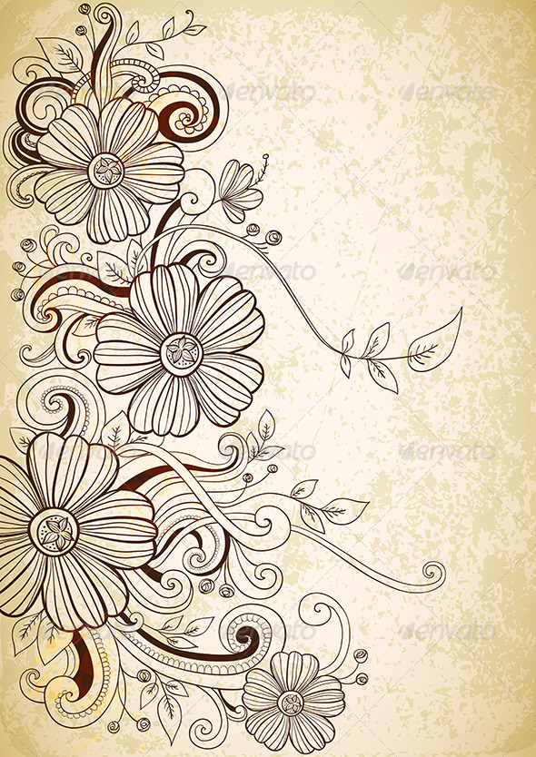 Hand Drawn Floral Background  - Flowers & Plants Nature
