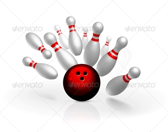Bowling Strike Vector Illustration - Sports/Activity Conceptual