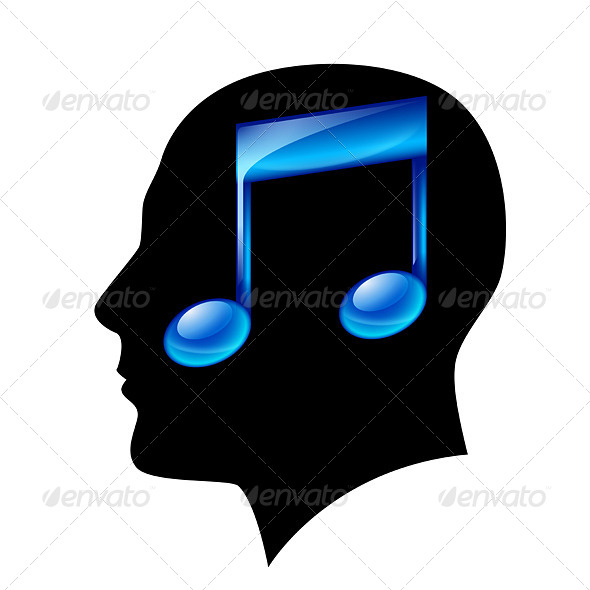 Head of Man with Musical Note - Animals Characters