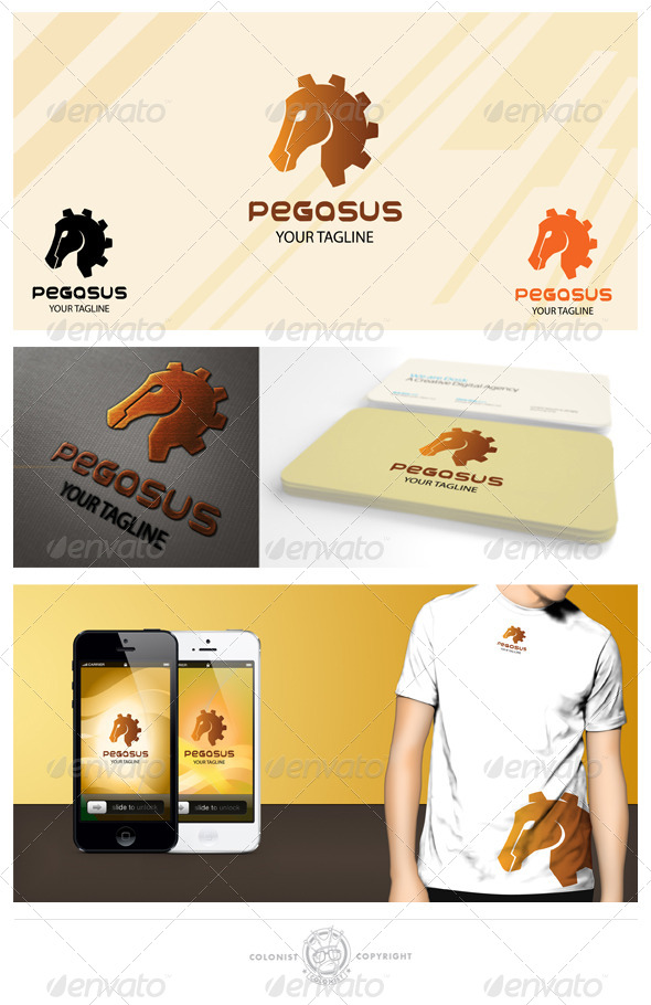 Pegasus( Gear) Logo - Animals Logo Templates