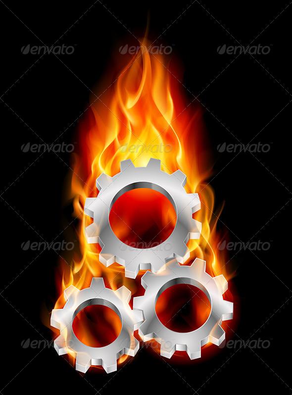 Gearwheel in Fire - Industries Business