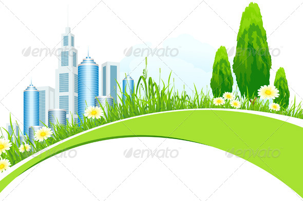 Abstract Background with City Line and Trees - Landscapes Nature