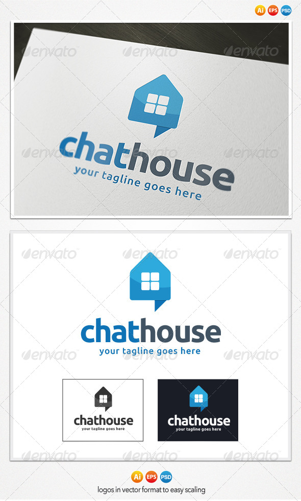 Chat House Logo - Buildings Logo Templates