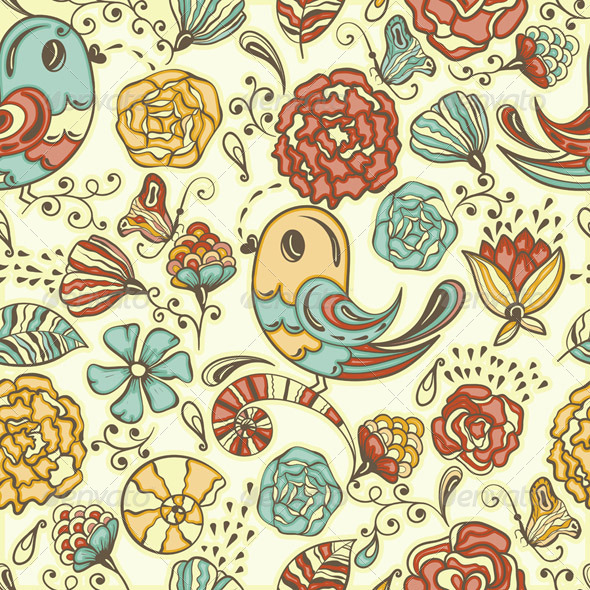 Vector Seamless Spring Pattern - Patterns Decorative