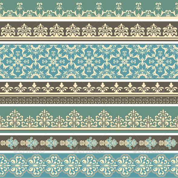 Vector Seamless  Floral Floral Retro Borders - Borders Decorative