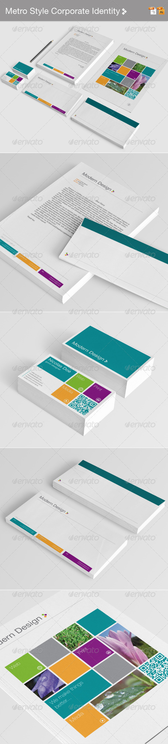 Metro Style Corporate Identity - Stationery Print Templates