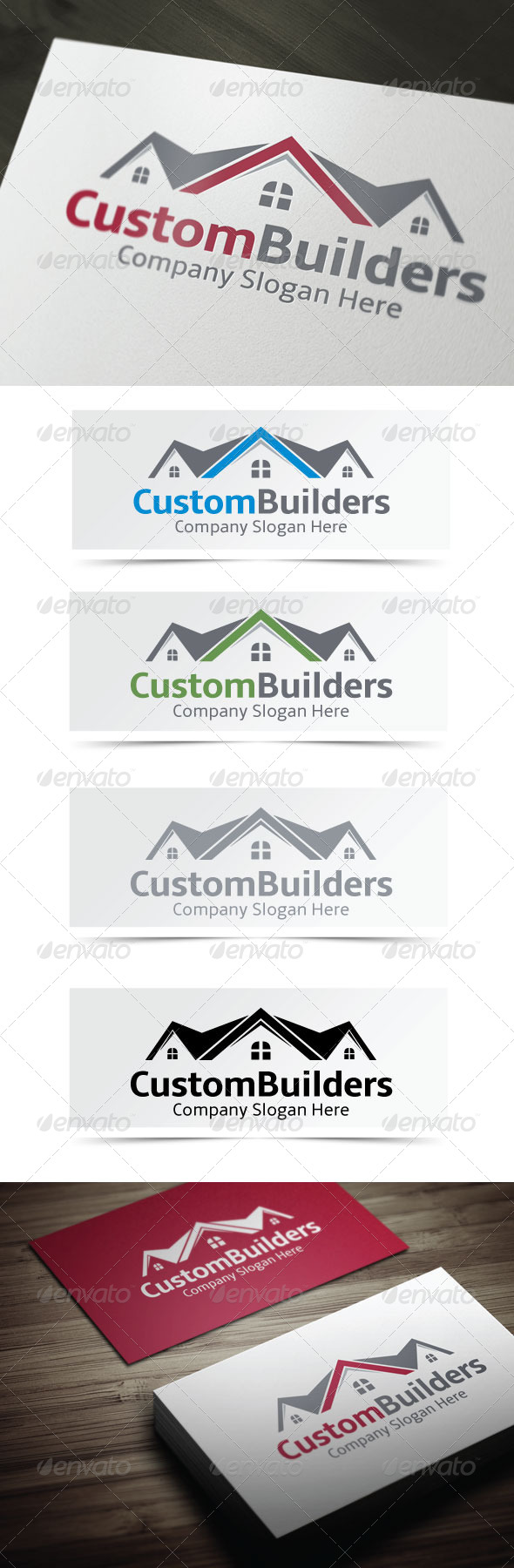 Custom Builders - Buildings Logo Templates