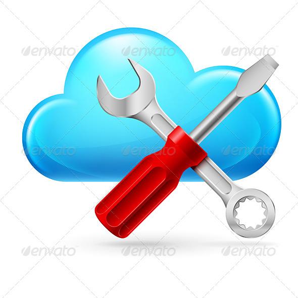 Single Cumulus Cloud and Tools  - Miscellaneous Vectors
