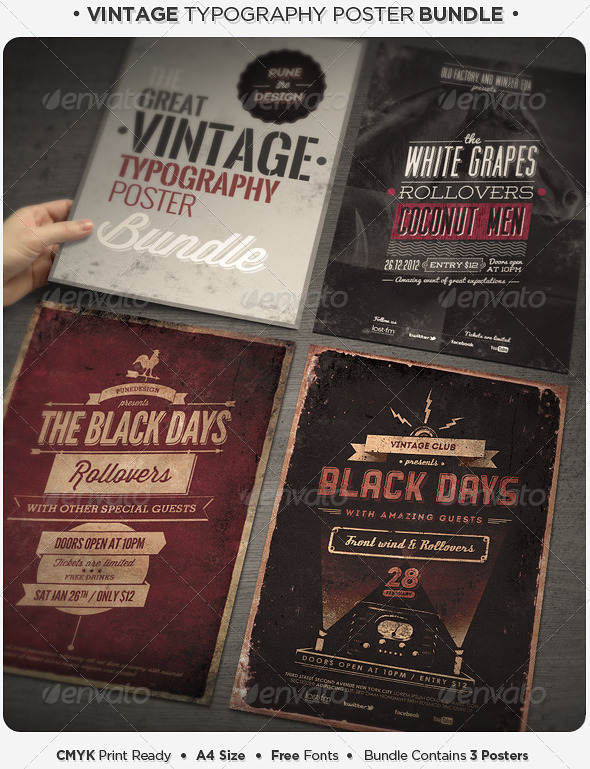 Vintage Typography Poster Bundle - Concerts Events